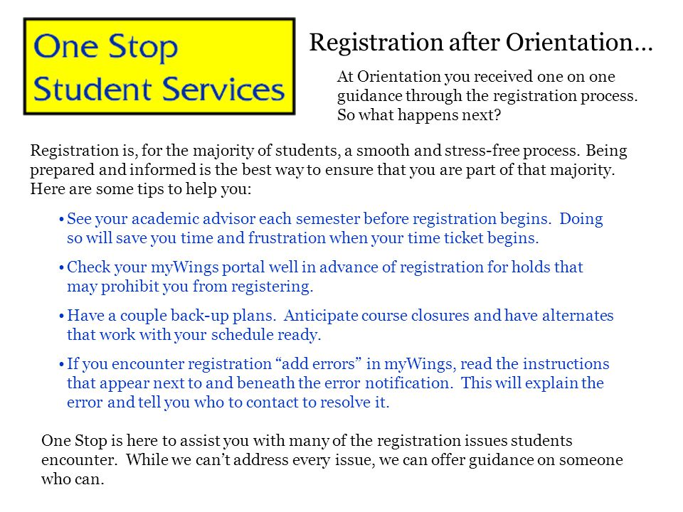 Registration after Orientation…