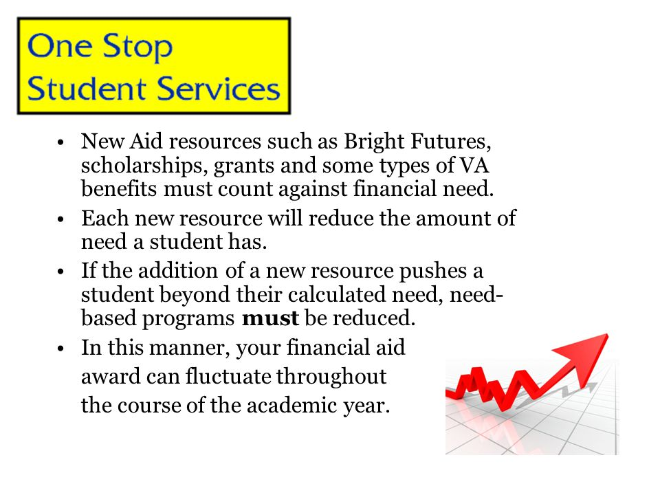 New Aid resources such as Bright Futures, scholarships, grants and some types of VA benefits must count against financial need.