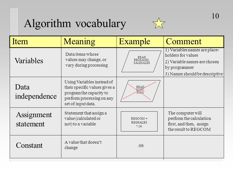 Algorithm vocabulary Item Meaning Example Comment Variables