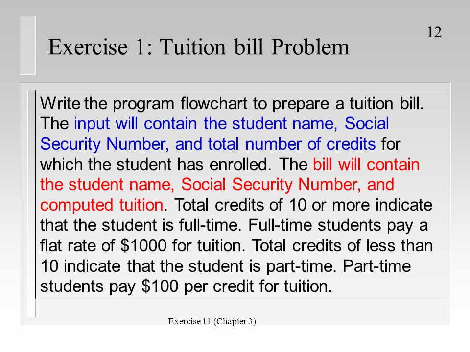 Exercise 1: Tuition bill Problem