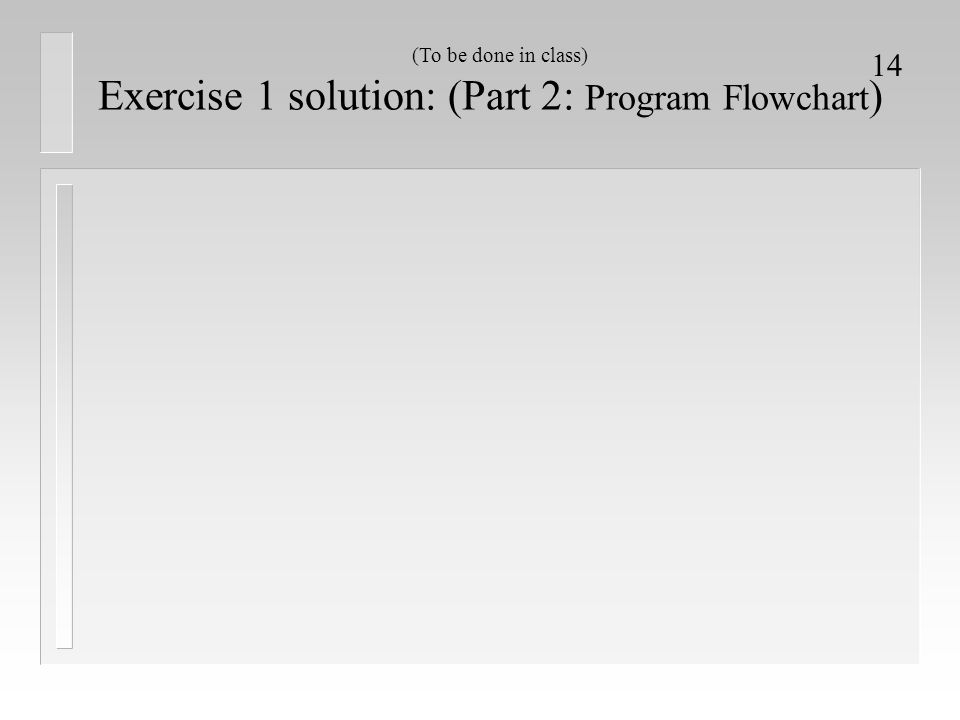 Exercise 1 solution: (Part 2: Program Flowchart)