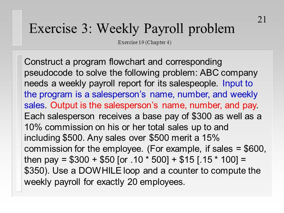 Exercise 3: Weekly Payroll problem