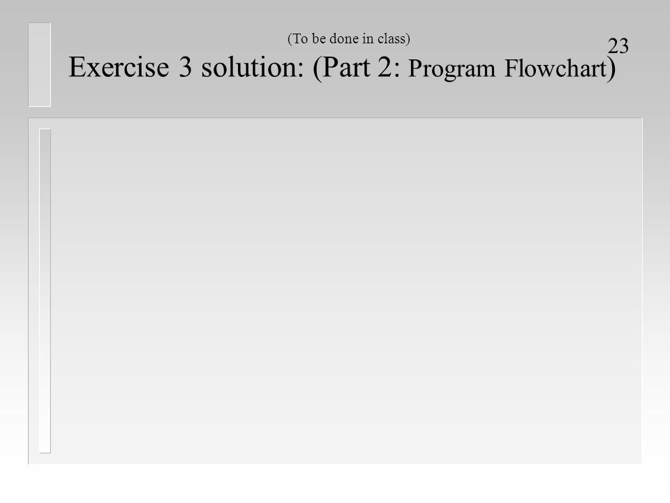 Exercise 3 solution: (Part 2: Program Flowchart)