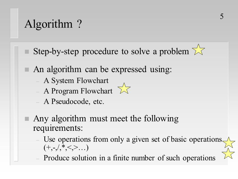 Algorithm Step-by-step procedure to solve a problem