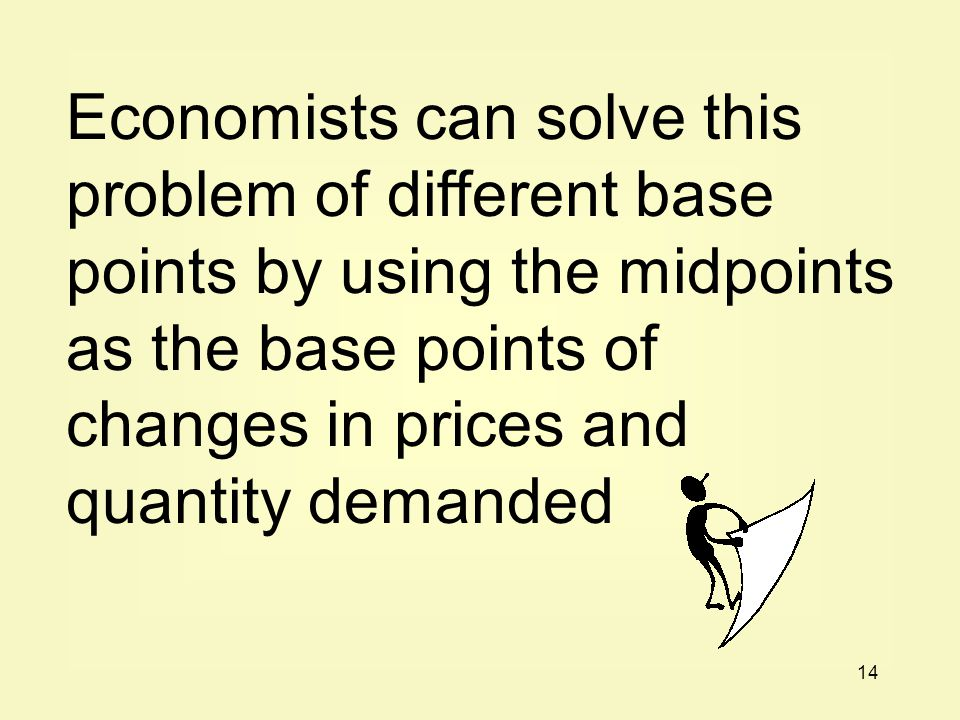 Economists can solve this problem of different base points by using the midpoints as the base points of changes in prices and quantity demanded