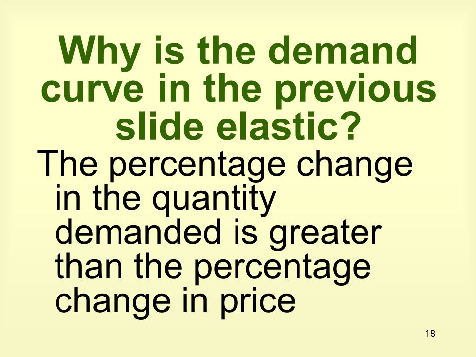 Why is the demand curve in the previous slide elastic