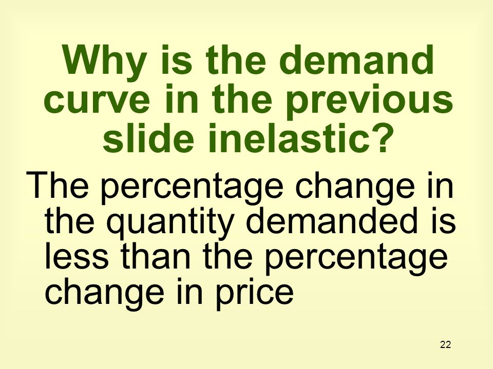 Why is the demand curve in the previous slide inelastic