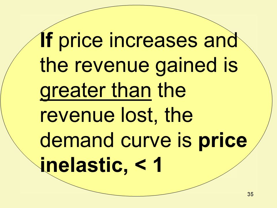 If price increases and the revenue gained is greater than the revenue lost, the demand curve is price inelastic, < 1