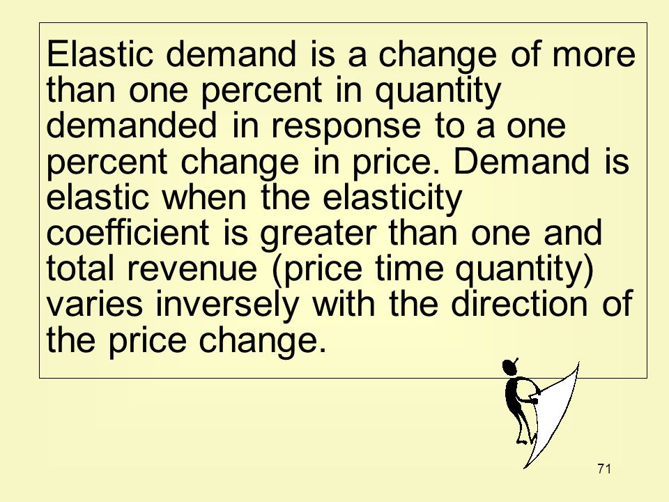 Elastic demand is a change of more than one percent in quantity demanded in response to a one percent change in price.
