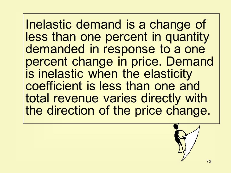 Inelastic demand is a change of less than one percent in quantity demanded in response to a one percent change in price.