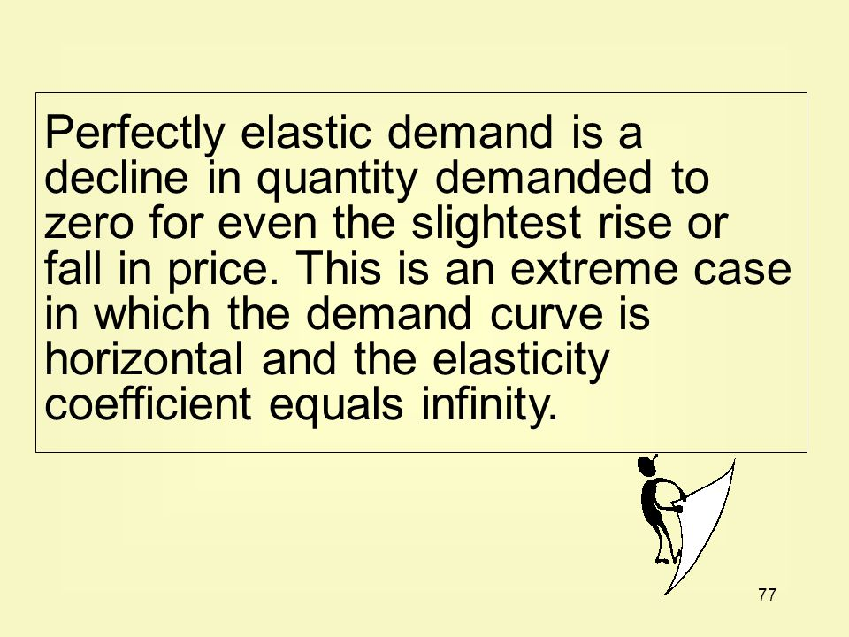 Perfectly elastic demand is a decline in quantity demanded to zero for even the slightest rise or fall in price.