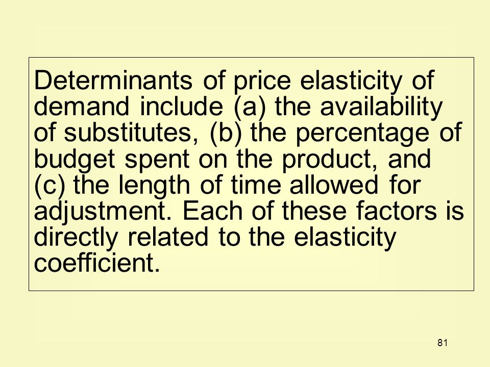 Determinants of price elasticity of demand include (a) the availability of substitutes, (b) the percentage of budget spent on the product, and (c) the length of time allowed for adjustment.