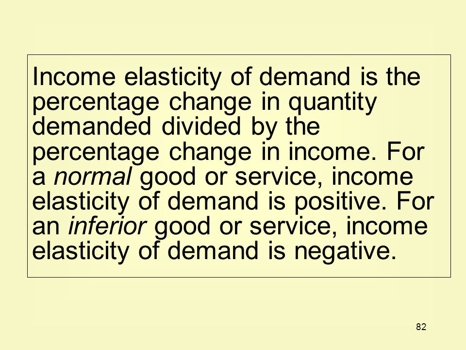 Income elasticity of demand is the percentage change in quantity demanded divided by the percentage change in income.