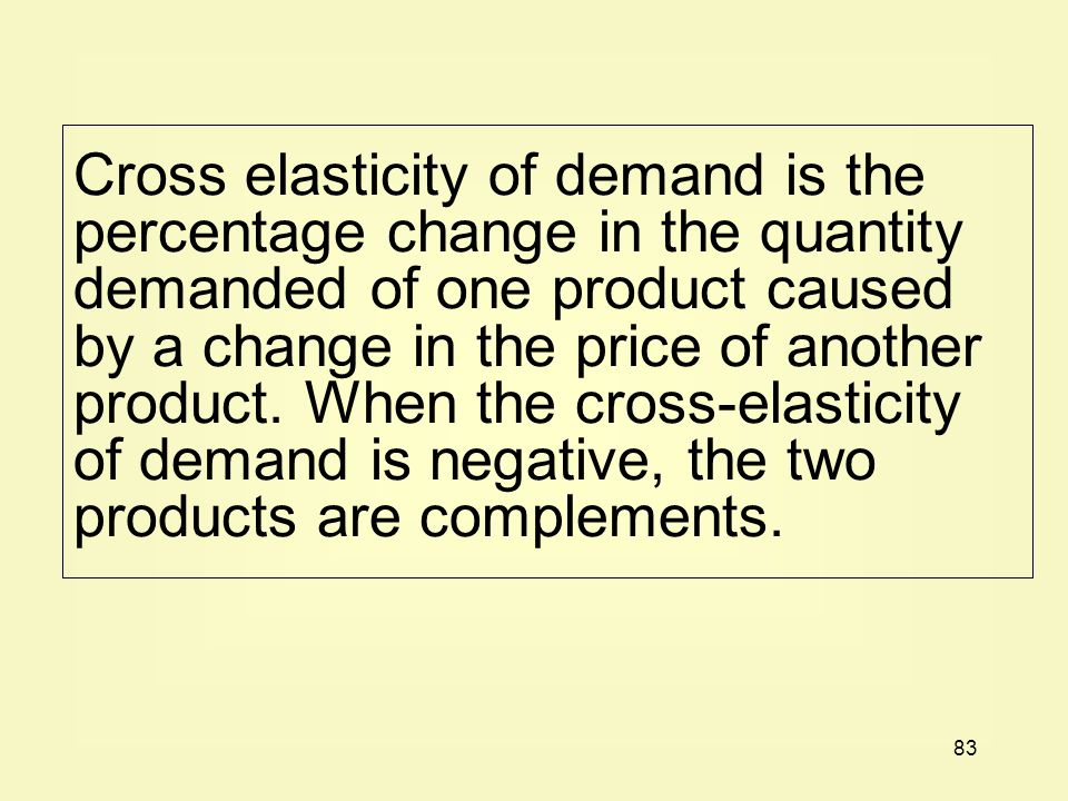 Cross elasticity of demand is the percentage change in the quantity demanded of one product caused by a change in the price of another product.