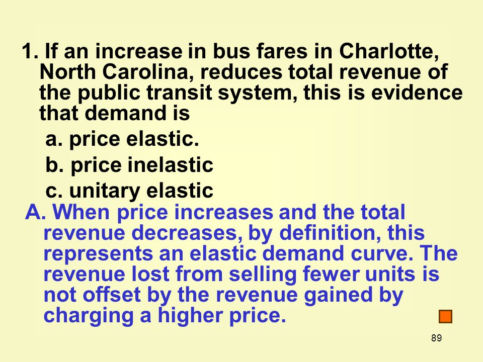 1. If an increase in bus fares in Charlotte, North Carolina, reduces total revenue of the public transit system, this is evidence that demand is