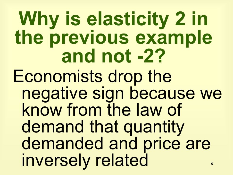 Why is elasticity 2 in the previous example and not -2