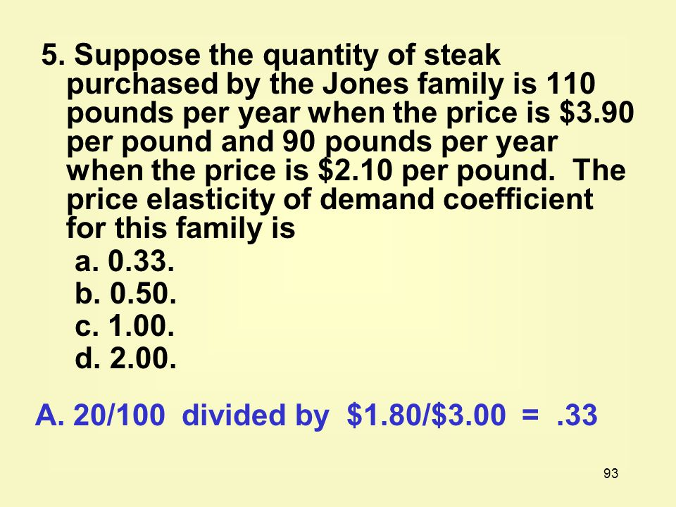 5. Suppose the quantity of steak purchased by the Jones family is 110 pounds per year when the price is $3.90 per pound and 90 pounds per year when the price is $2.10 per pound. The price elasticity of demand coefficient for this family is