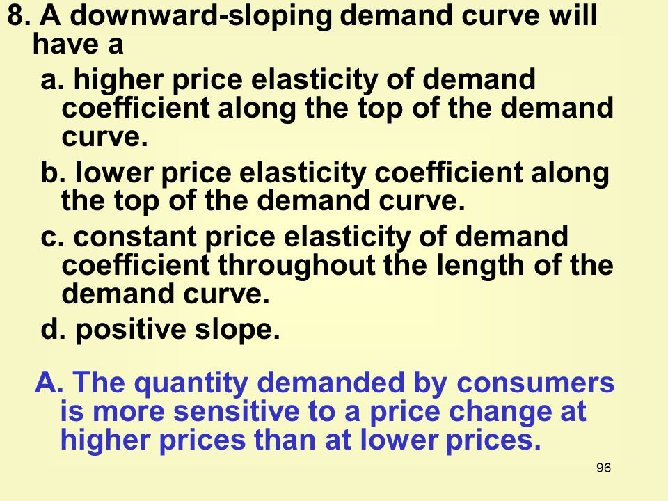 8. A downward-sloping demand curve will have a