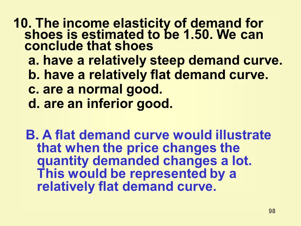 10. The income elasticity of demand for shoes is estimated to be 1. 50