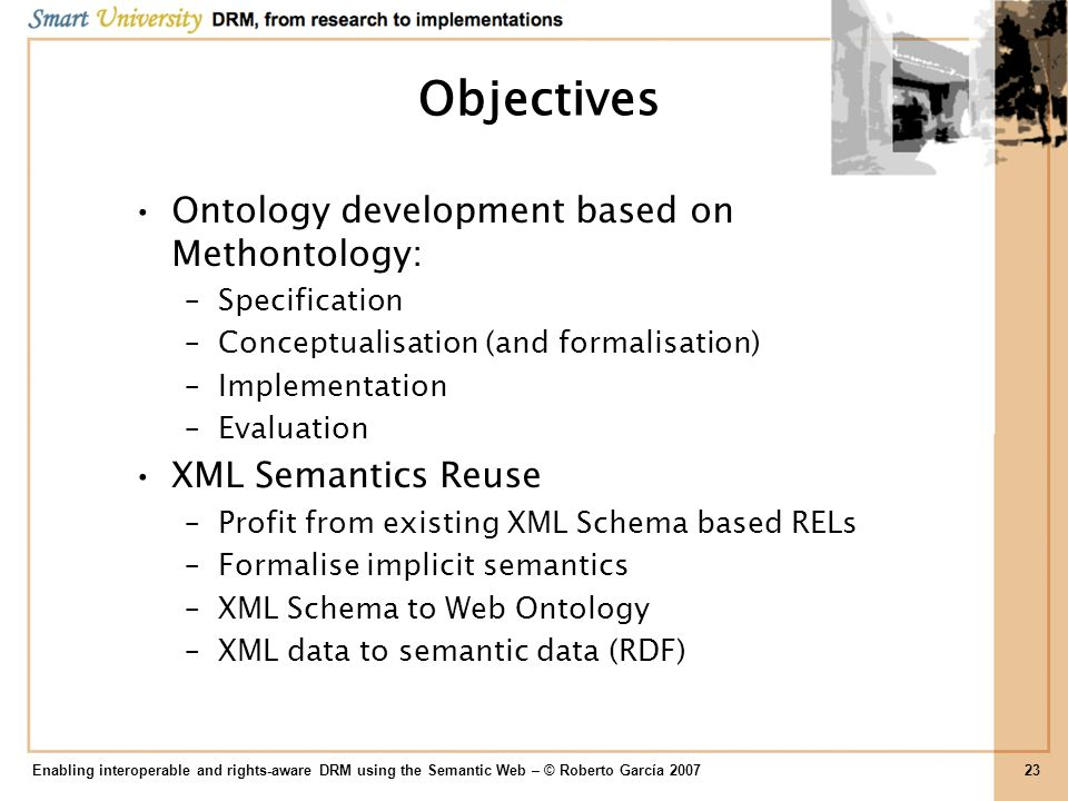Objectives Ontology development based on Methontology: