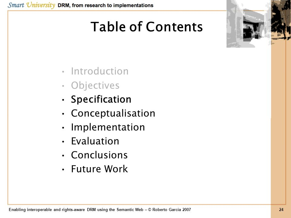 Table of Contents Introduction Objectives Specification