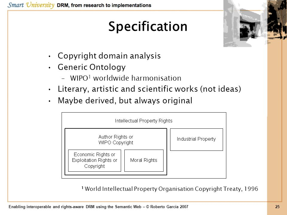 Specification Copyright domain analysis Generic Ontology