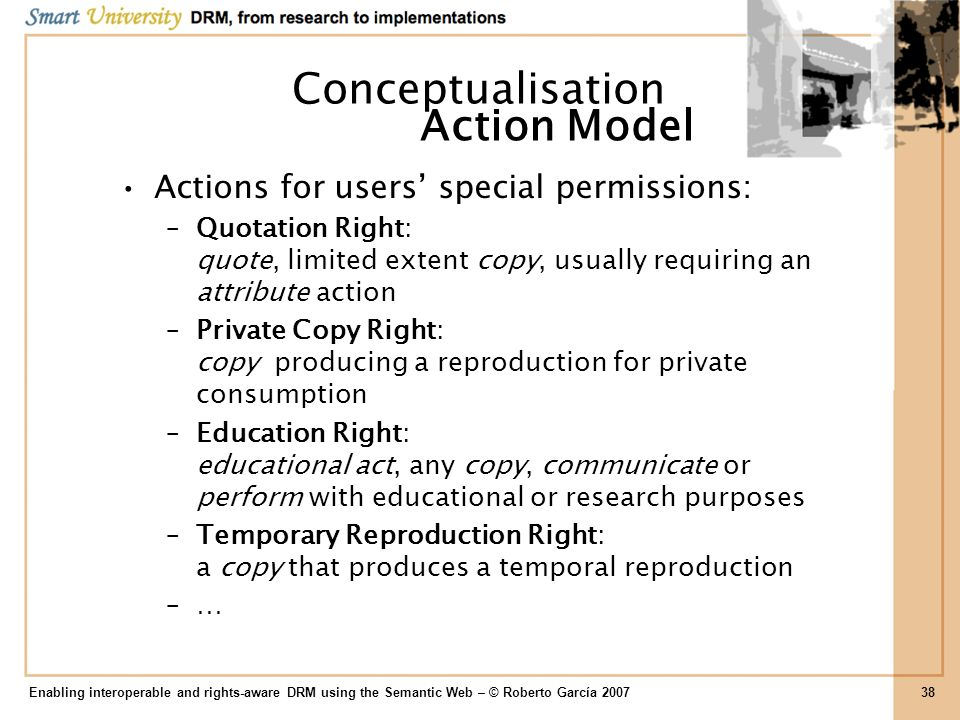 Conceptualisation Action Model Actions for users' special permissions: