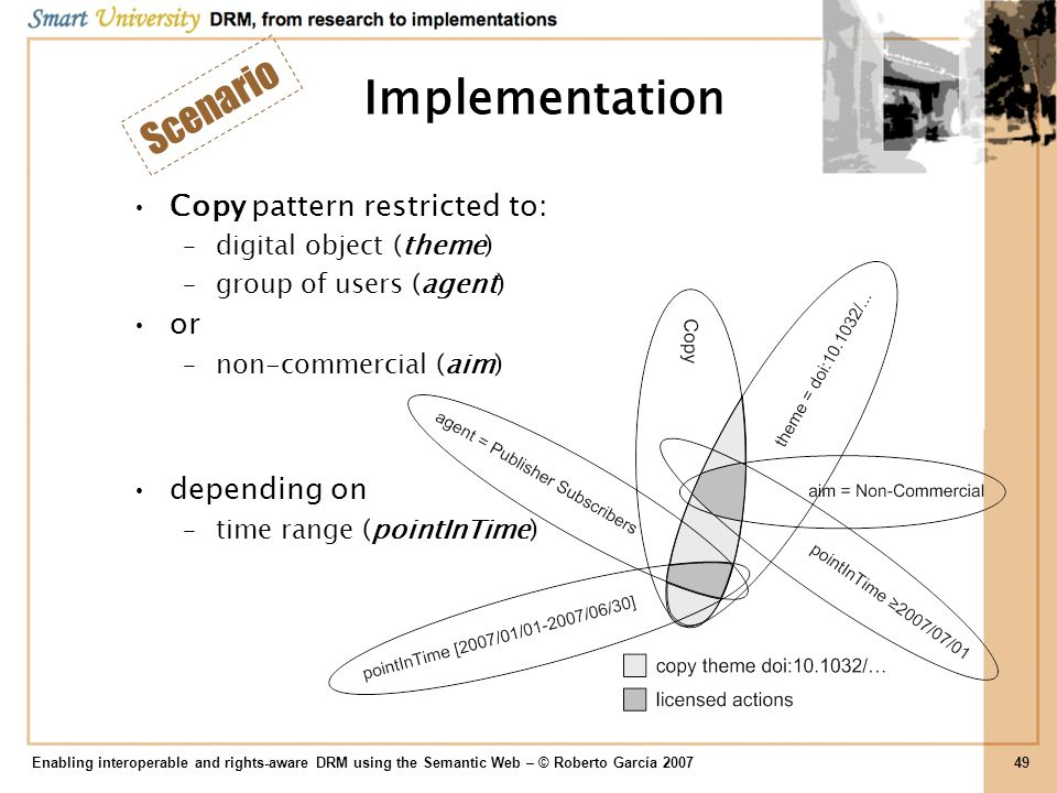 Implementation Scenario Copy pattern restricted to: or depending on