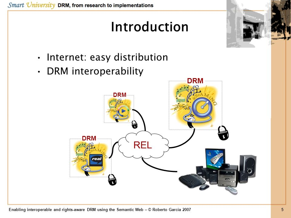 Introduction Internet: easy distribution DRM interoperability REL DRM