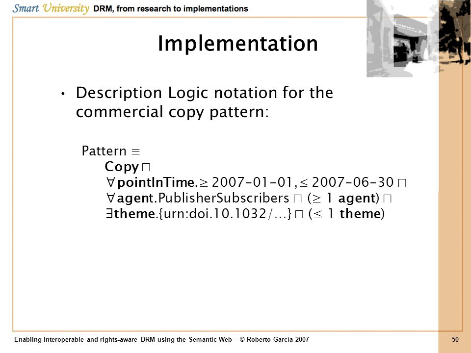 Implementation Description Logic notation for the commercial copy pattern: