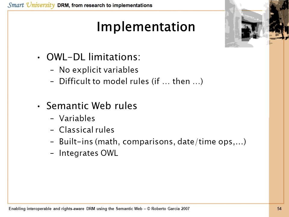 Implementation OWL-DL limitations: Semantic Web rules