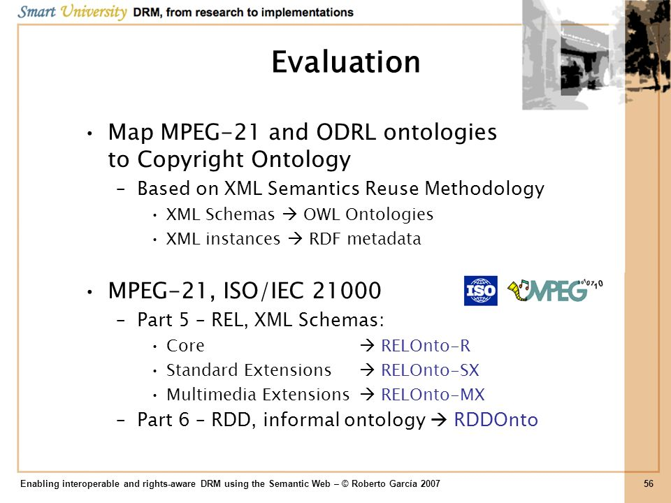 Evaluation Map MPEG-21 and ODRL ontologies to Copyright Ontology