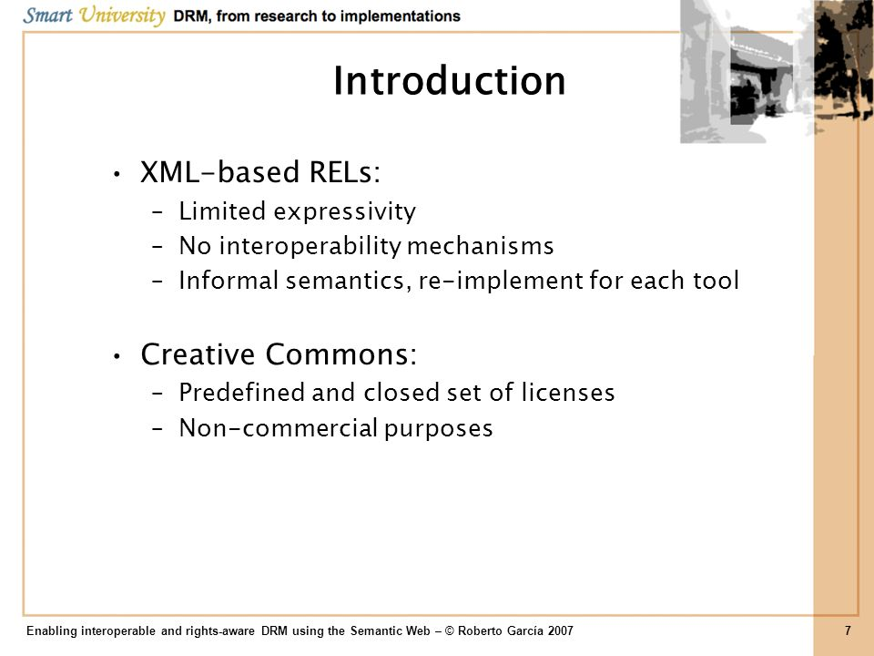 Introduction XML-based RELs: Creative Commons: Limited expressivity