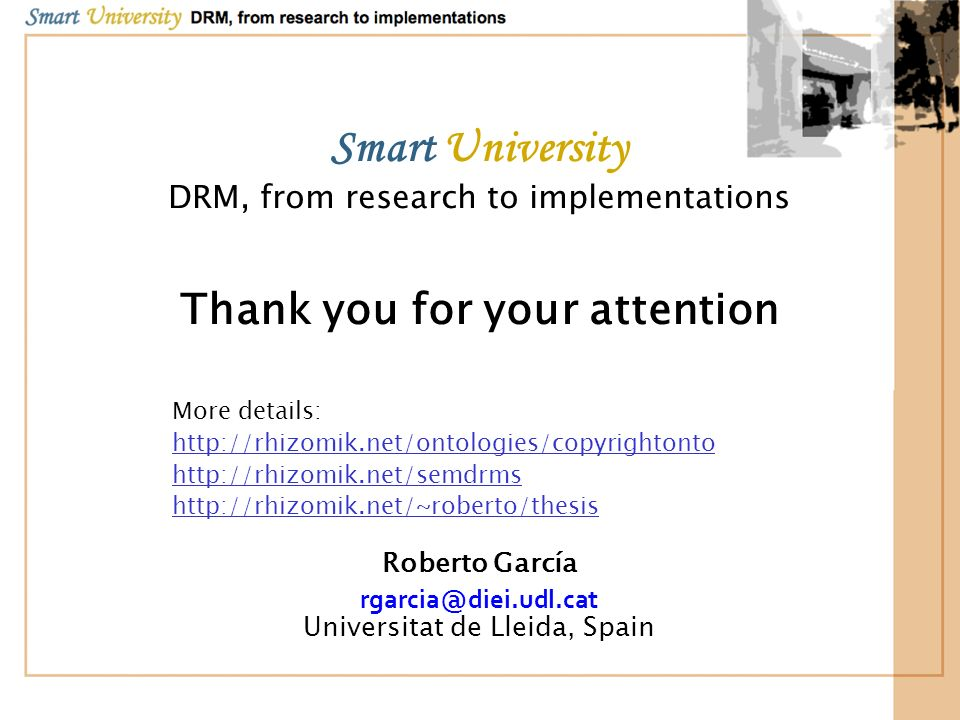 Smart University Thank you for your attention