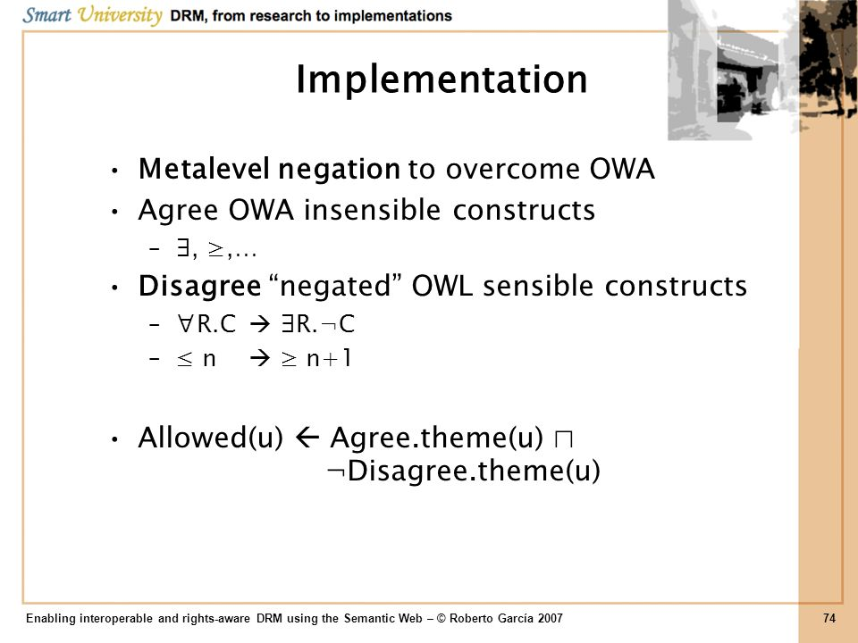 Implementation Metalevel negation to overcome OWA