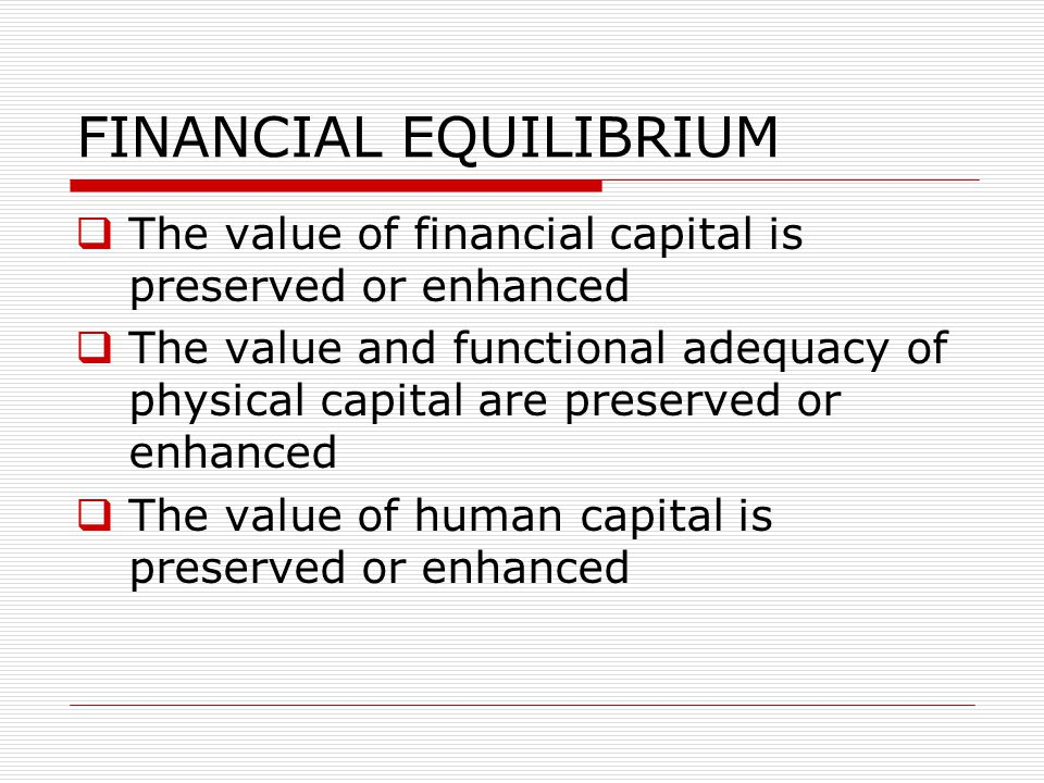FINANCIAL EQUILIBRIUM
