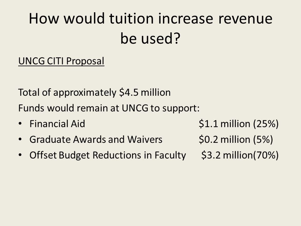 How would tuition increase revenue be used