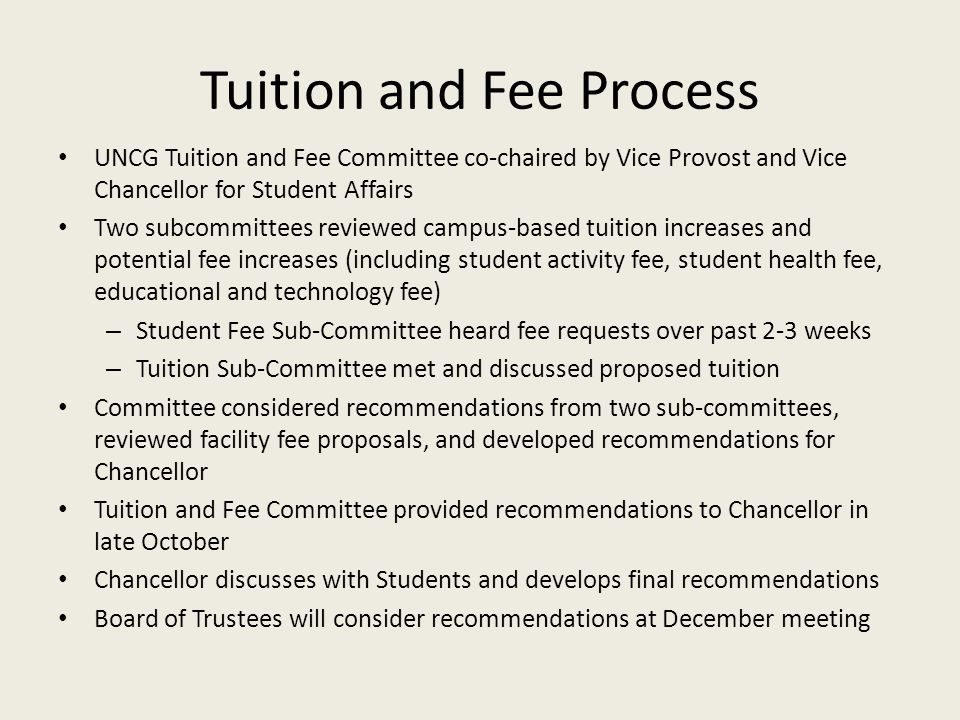 Tuition and Fee Process