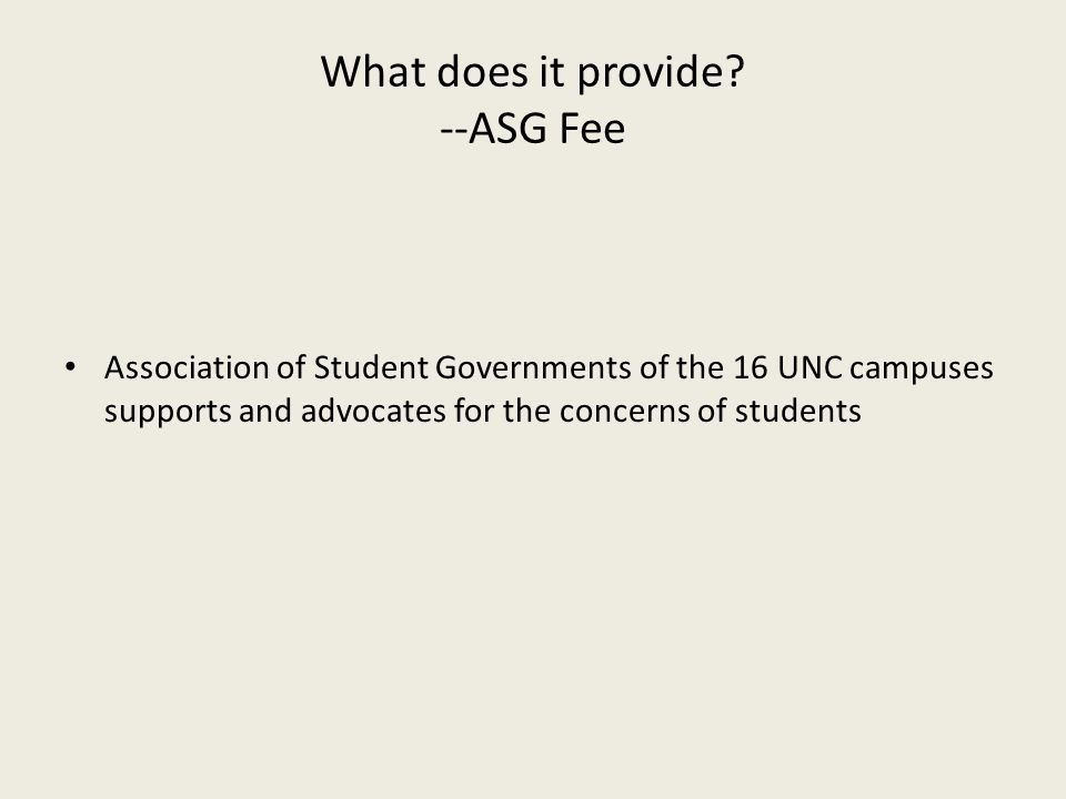 What does it provide --ASG Fee