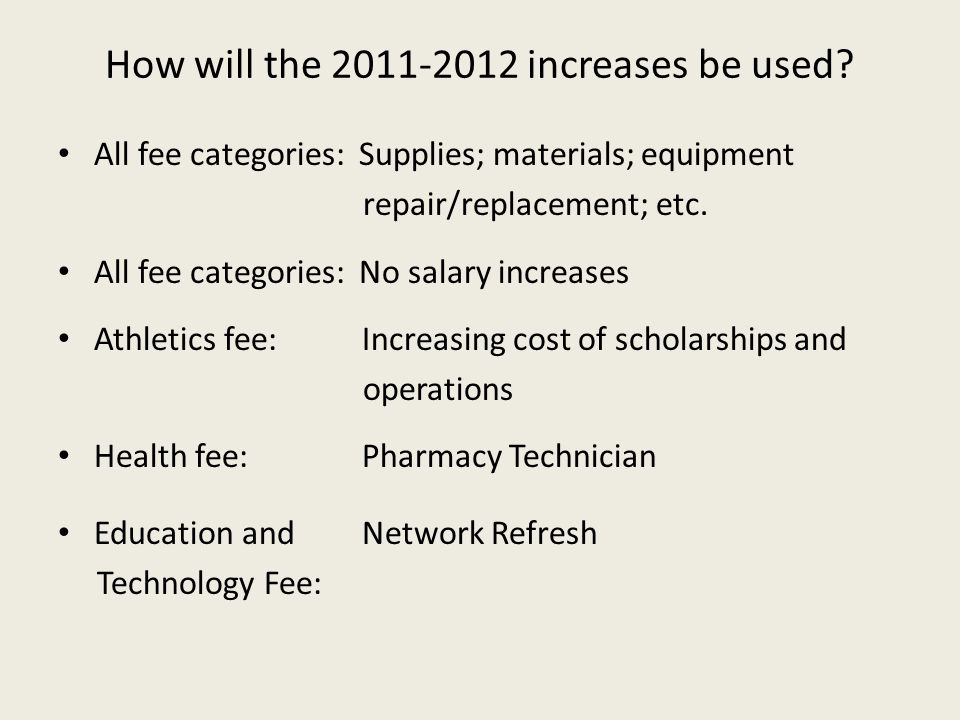 How will the 2011-2012 increases be used