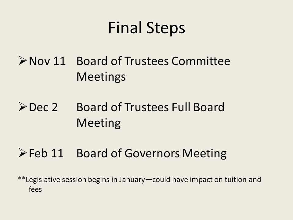 Final Steps Nov 11 Board of Trustees Committee Meetings