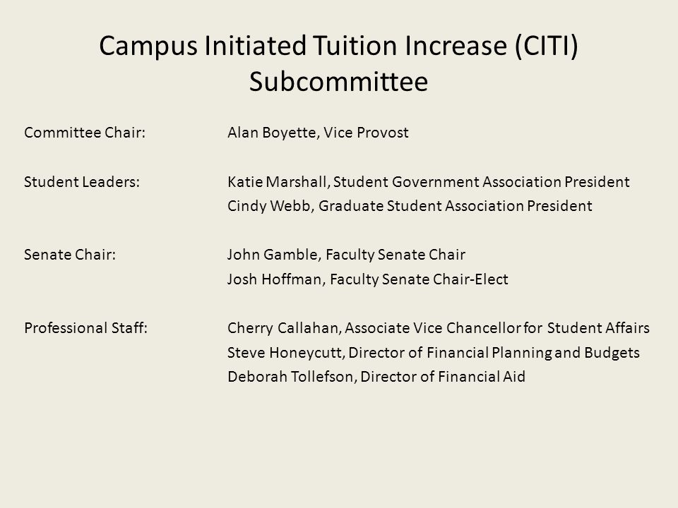 Campus Initiated Tuition Increase (CITI) Subcommittee