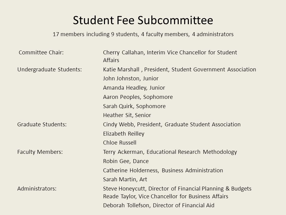 Student Fee Subcommittee
