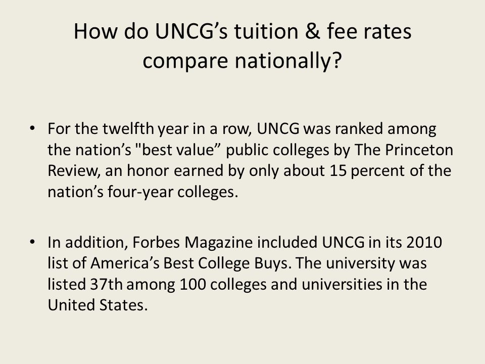 How do UNCG's tuition & fee rates compare nationally
