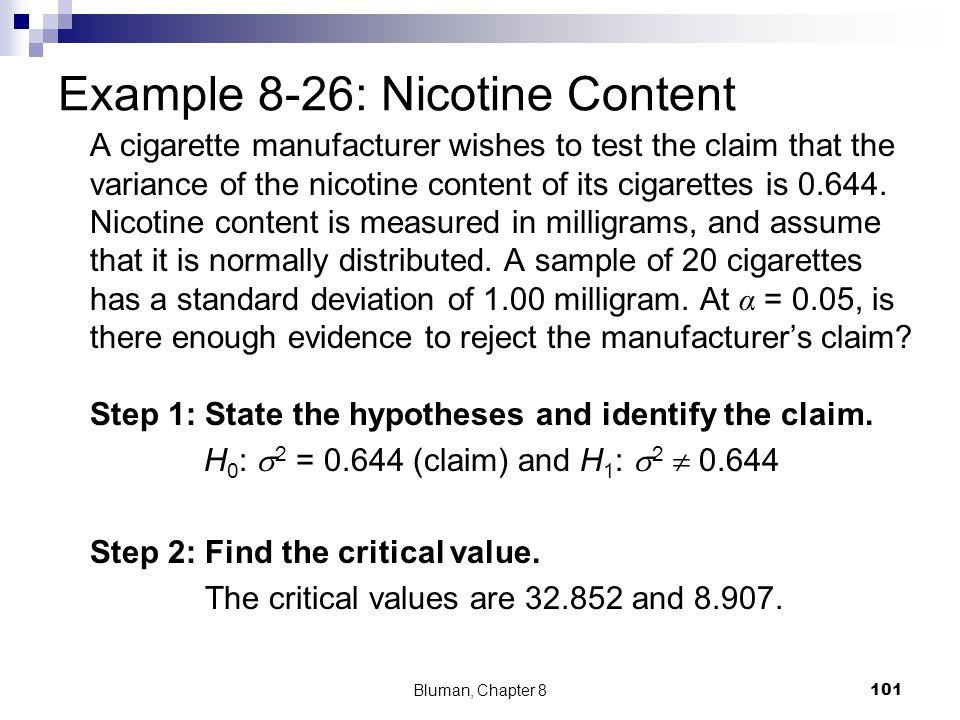 Example 8-26: Nicotine Content