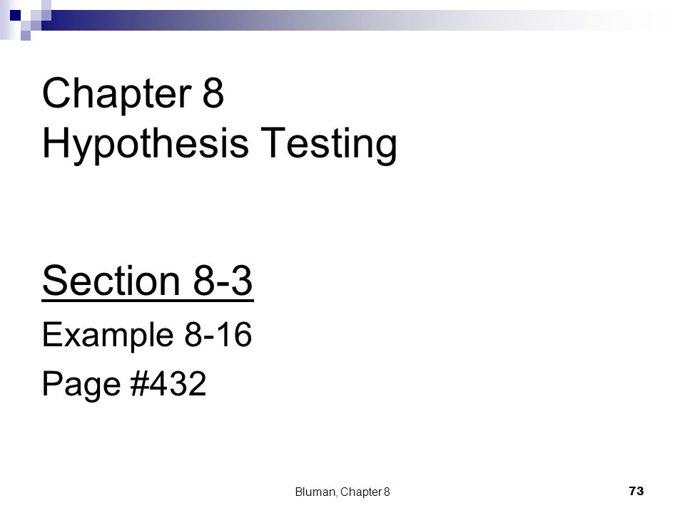 Chapter 8 Hypothesis Testing