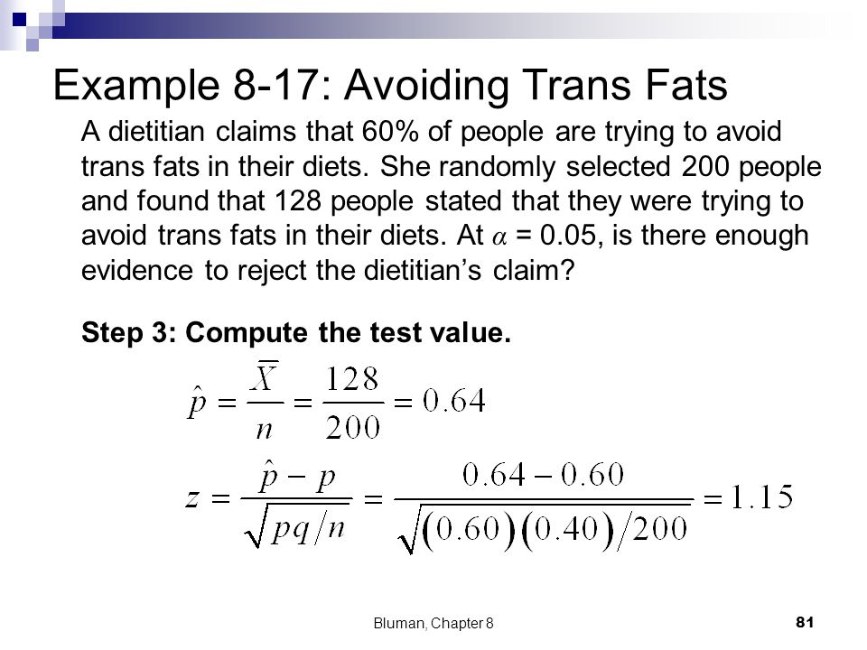 Example 8-17: Avoiding Trans Fats