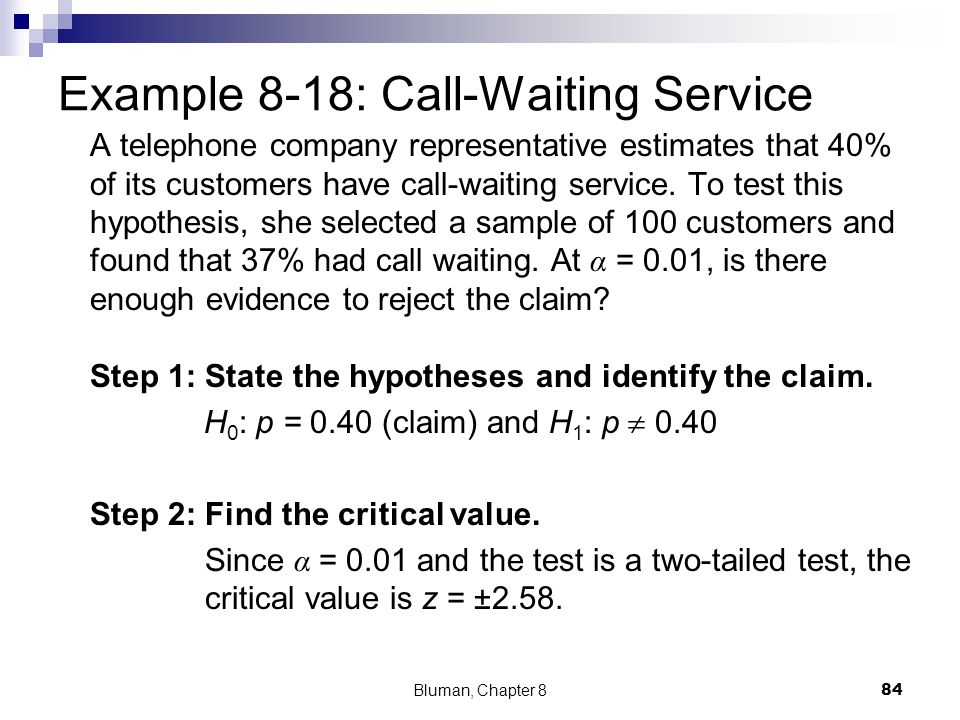 Example 8-18: Call-Waiting Service