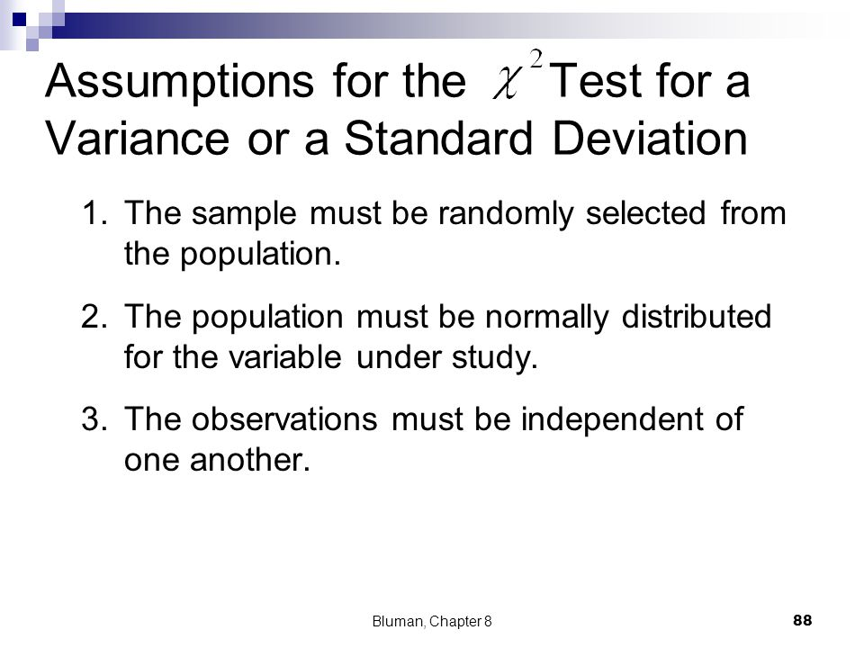 Assumptions for the Test for a Variance or a Standard Deviation