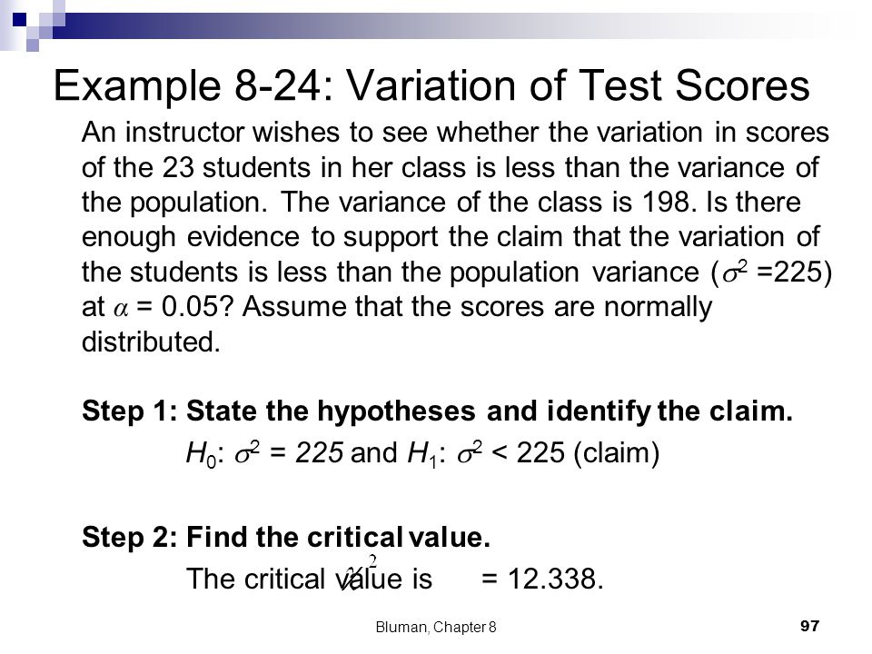 Example 8-24: Variation of Test Scores
